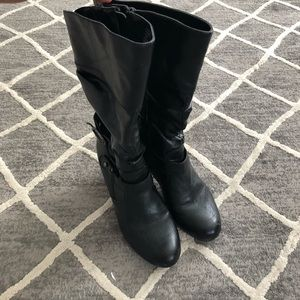Black boots with heels.